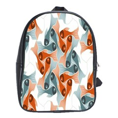 Make Tessellation Fish Tessellation Blue White School Bags (xl)