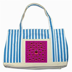 A Cartoon Named Okey Want Friends And Freedom Striped Blue Tote Bag
