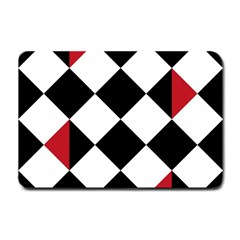 Survace Floor Plaid Bleck Red White Small Doormat