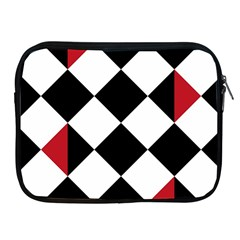 Survace Floor Plaid Bleck Red White Apple Ipad 2/3/4 Zipper Cases