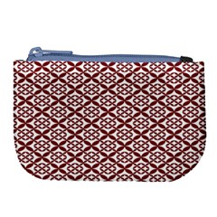 Pattern Kawung Star Line Plaid Flower Floral Red Large Coin Purse