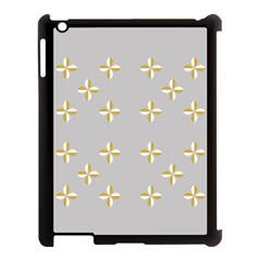 Syrface Flower Floral Gold White Space Star Apple Ipad 3/4 Case (black)