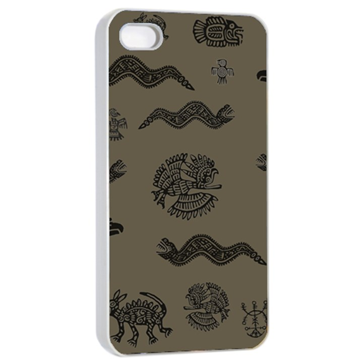 Aztecs pattern Apple iPhone 4/4s Seamless Case (White)