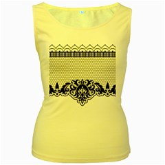 Transparent Lace Decoration Women s Yellow Tank Top