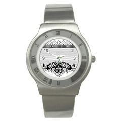 Transparent Lace Decoration Stainless Steel Watch