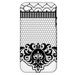 Transparent Lace Decoration Apple iPhone 4/4S Hardshell Case (PC+Silicone)