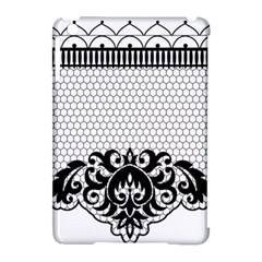 Transparent Lace Decoration Apple Ipad Mini Hardshell Case (compatible With Smart Cover)