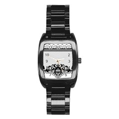 Transparent Lace Decoration Stainless Steel Barrel Watch