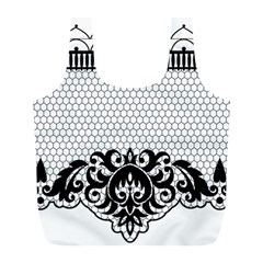 Transparent Lace Decoration Full Print Recycle Bags (L)