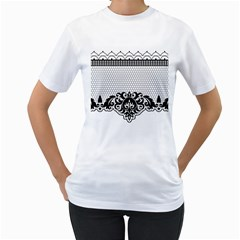 Transparent Lace Decoration Women s T Shirt (white)