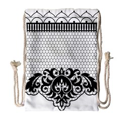 Transparent Lace Decoration Drawstring Bag (large)