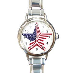 A Star With An American Flag Pattern Round Italian Charm Watch