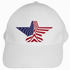 A Star With An American Flag Pattern White Cap