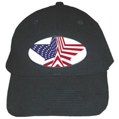 A Star With An American Flag Pattern Black Cap