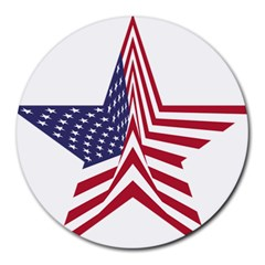 A Star With An American Flag Pattern Round Mousepads