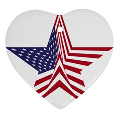 A Star With An American Flag Pattern Ornament (Heart)