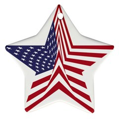 A Star With An American Flag Pattern Ornament (star)