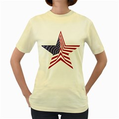 A Star With An American Flag Pattern Women s Yellow T Shirt