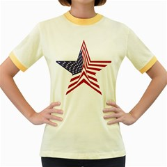 A Star With An American Flag Pattern Women s Fitted Ringer T-Shirts