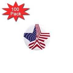 A Star With An American Flag Pattern 1  Mini Magnets (100 Pack)