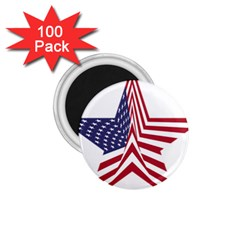A Star With An American Flag Pattern 1.75  Magnets (100 pack)