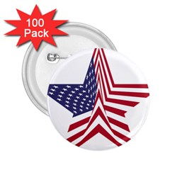 A Star With An American Flag Pattern 2 25  Buttons (100 Pack)