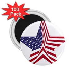 A Star With An American Flag Pattern 2.25  Magnets (100 pack)