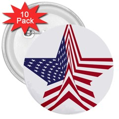 A Star With An American Flag Pattern 3  Buttons (10 Pack)