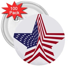 A Star With An American Flag Pattern 3  Buttons (100 pack)