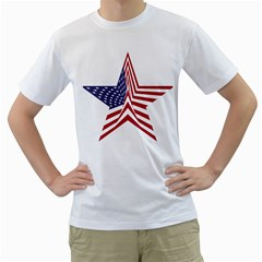 A Star With An American Flag Pattern Men s T Shirt (white) (two Sided)