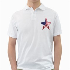 A Star With An American Flag Pattern Golf Shirts