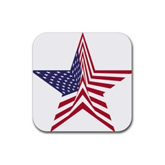 A Star With An American Flag Pattern Rubber Square Coaster (4 Pack)