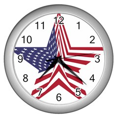 A Star With An American Flag Pattern Wall Clocks (silver)
