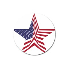 A Star With An American Flag Pattern Magnet 3  (round)