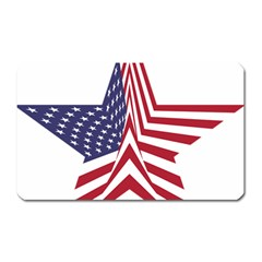 A Star With An American Flag Pattern Magnet (Rectangular)