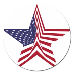 A Star With An American Flag Pattern Magnet 5  (Round)