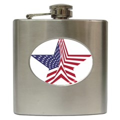 A Star With An American Flag Pattern Hip Flask (6 Oz)