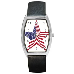 A Star With An American Flag Pattern Barrel Style Metal Watch