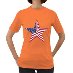 A Star With An American Flag Pattern Women s Dark T Shirt