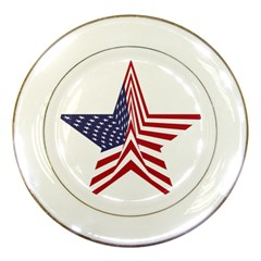 A Star With An American Flag Pattern Porcelain Plates