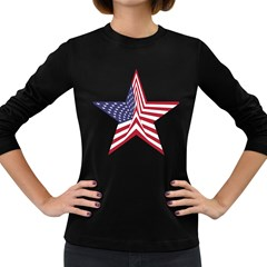 A Star With An American Flag Pattern Women s Long Sleeve Dark T-Shirts
