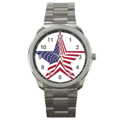 A Star With An American Flag Pattern Sport Metal Watch