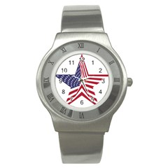 A Star With An American Flag Pattern Stainless Steel Watch