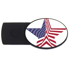 A Star With An American Flag Pattern Usb Flash Drive Oval (4 Gb)