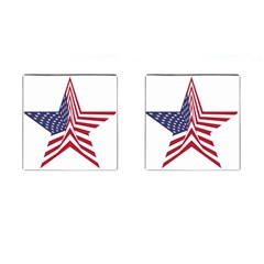 A Star With An American Flag Pattern Cufflinks (square)
