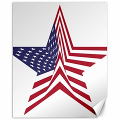 A Star With An American Flag Pattern Canvas 16  x 20