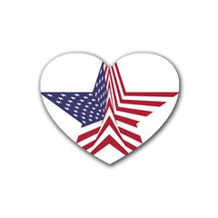 A Star With An American Flag Pattern Rubber Coaster (heart)