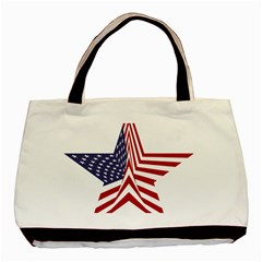 A Star With An American Flag Pattern Basic Tote Bag (Two Sides)