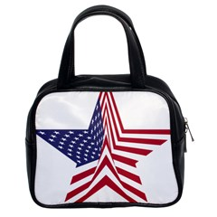 A Star With An American Flag Pattern Classic Handbags (2 Sides)