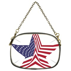 A Star With An American Flag Pattern Chain Purses (one Side)